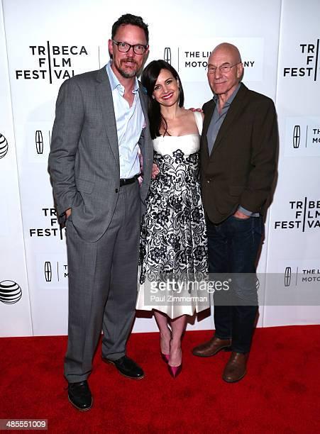 Matthew Lillard Carla Gugino and Sir Patrick Stewart attend the 'Match' screening during the 2014 Tribeca Film Festival at BMCC Tribeca PAC on April...