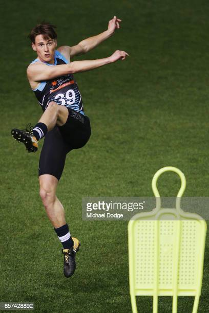 Matthew Ling from the Geelong Falcons kicks the ball during the AFLW Draft Combine at Etihad Stadium on October 4 2017 in Melbourne Australia