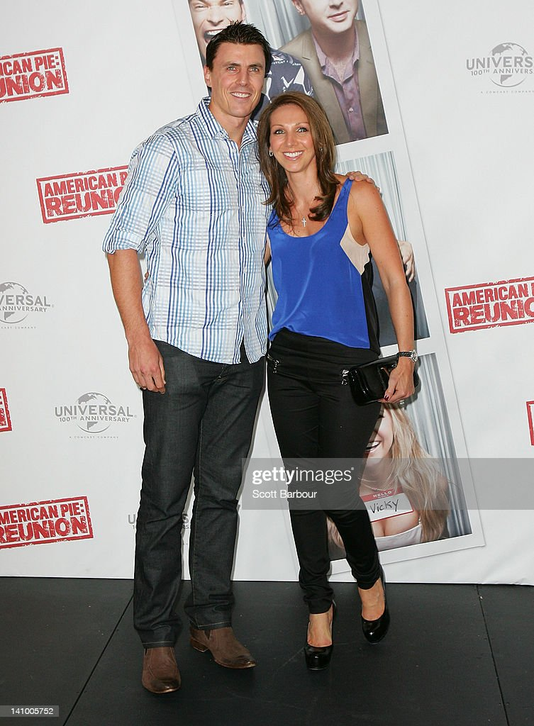 Matthew Lloyd and his wife Lisa Lloyd arrive at the Australian premiere of 'American Pie Reunion' on March 7 2012 in Melbourne Australia