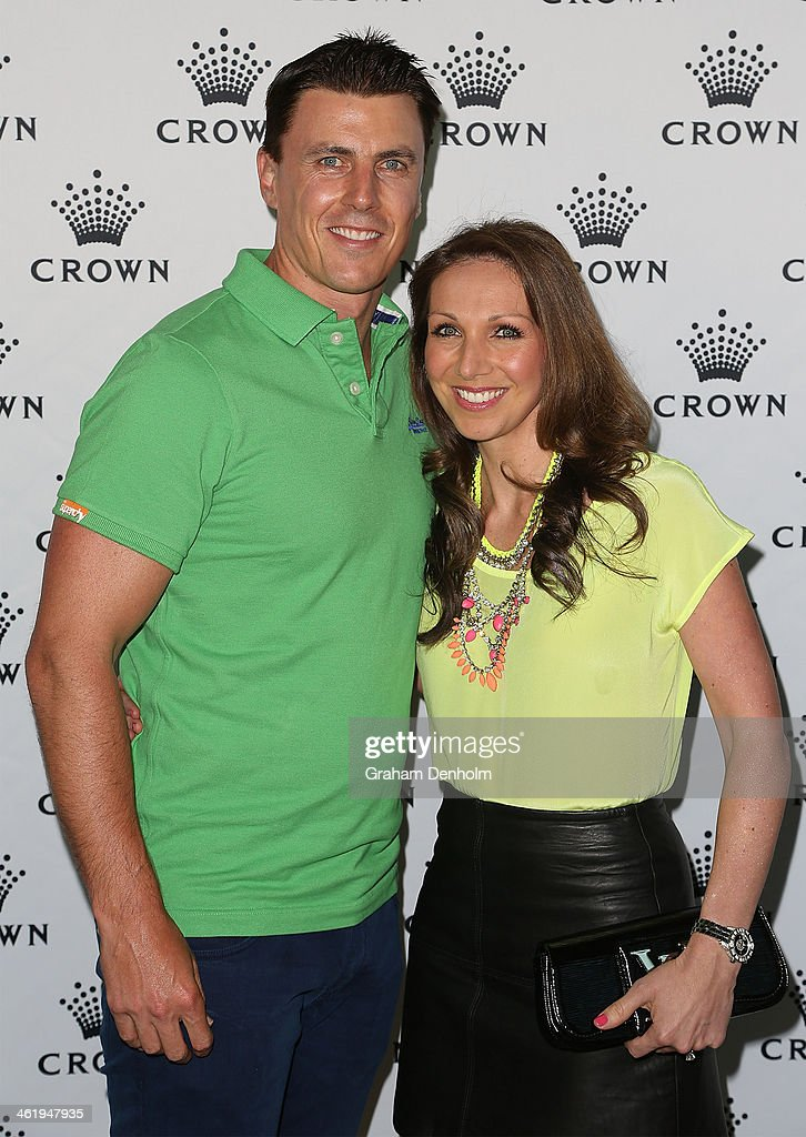 <a gi-track='captionPersonalityLinkClicked' href=/galleries/search?phrase=Matthew+Lloyd&family=editorial&specificpeople=171673 ng-click='$event.stopPropagation()'>Matthew Lloyd</a> and his wife Lisa Lloyd arrive at the IMG tennis players party at Crown Towers on January 12, 2014 in Melbourne, Australia.