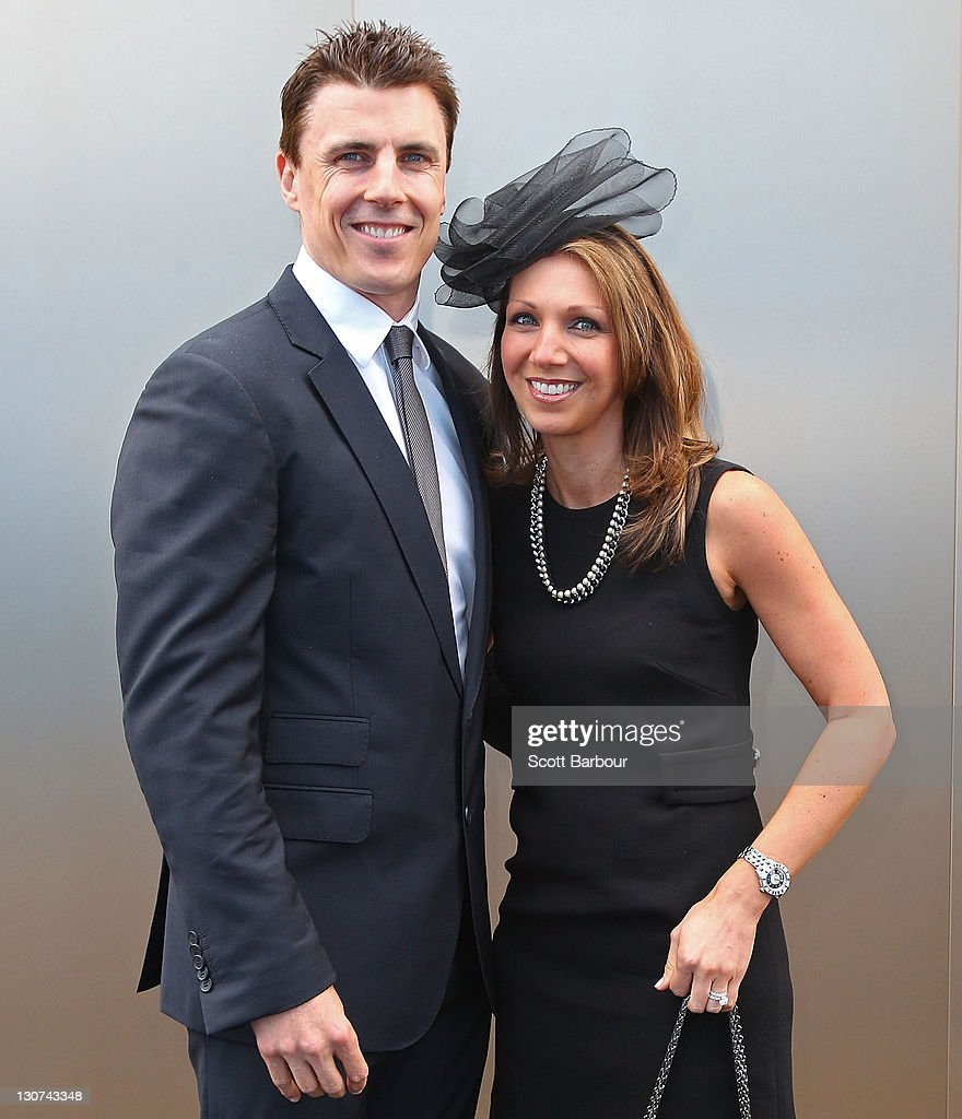 Matthew Lloyd and his wife Lisa Lloyd attend Victoria Derby Day at Flemington Racecourse on October 29 2011 in Melbourne Australia