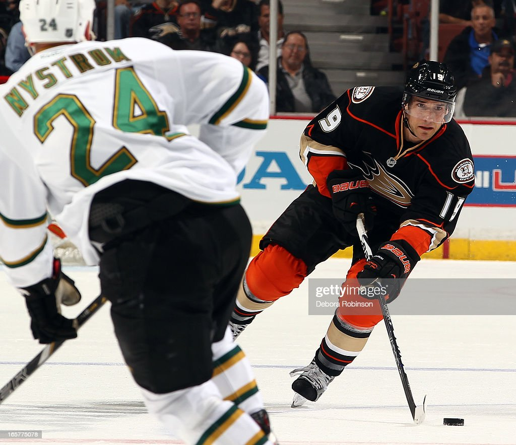 <a gi-track='captionPersonalityLinkClicked' href=/galleries/search?phrase=Matthew+Lombardi&family=editorial&specificpeople=203305 ng-click='$event.stopPropagation()'>Matthew Lombardi</a> #19 of the Anaheim Ducks handles the puck against <a gi-track='captionPersonalityLinkClicked' href=/galleries/search?phrase=Eric+Nystrom&family=editorial&specificpeople=2209813 ng-click='$event.stopPropagation()'>Eric Nystrom</a> #24 of the Dallas Stars on April 5, 2013 at Honda Center in Anaheim, California.