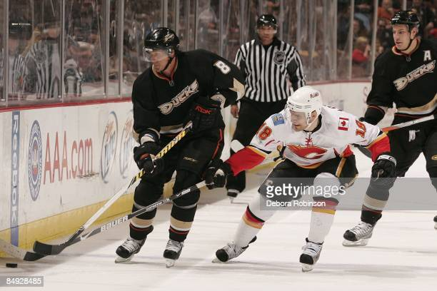Matthew Lombardi of the Calgary Flames reaches for the puck against Teemu Selanne of the Anaheim Ducks during the game on February 11 2009 at Honda...