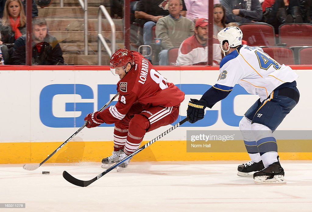 <a gi-track='captionPersonalityLinkClicked' href=/galleries/search?phrase=Matthew+Lombardi&family=editorial&specificpeople=203305 ng-click='$event.stopPropagation()'>Matthew Lombardi</a> #8 of the Phoenix Coyotes skates the puck along the boards as <a gi-track='captionPersonalityLinkClicked' href=/galleries/search?phrase=Roman+Polak&family=editorial&specificpeople=2109482 ng-click='$event.stopPropagation()'>Roman Polak</a> #46 of the St Louis Blues defends during the second period at Jobing.com Arena on March 7, 2013 in Glendale, Arizona.