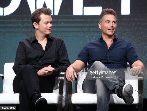 Matthew Lowe and executive producer Rob Lowe of 'The Lowe Files ' speak onstage during the AE portion of the 2017 Summer Television Critics...