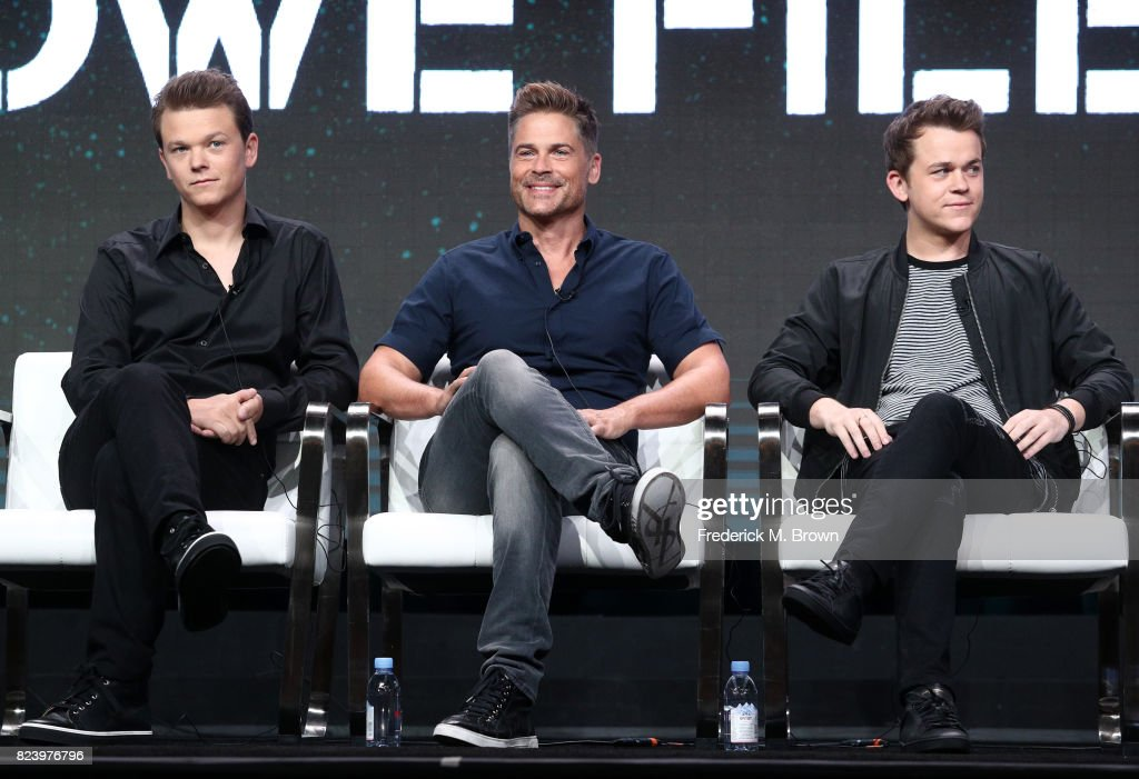 Matthew Lowe, executive producer Rob Lowe, John Owen Lowe of 'The Lowe Files ' speak onstage during the A+E portion of the 2017 Summer Television Critics Association Press Tour at The Beverly Hilton Hotel on July 28, 2017 in Beverly Hills, California.
