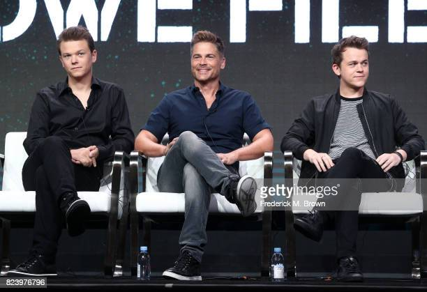 Matthew Lowe executive producer Rob Lowe John Owen Lowe of 'The Lowe Files ' speak onstage during the AE portion of the 2017 Summer Television...