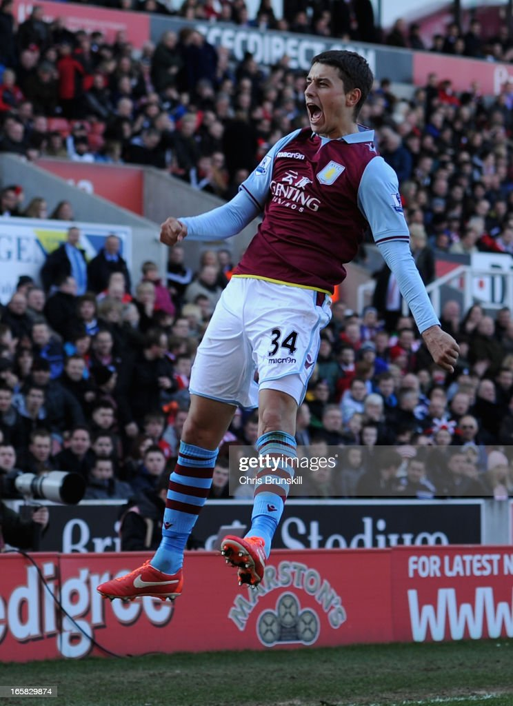 <a gi-track='captionPersonalityLinkClicked' href=/galleries/search?phrase=Matthew+Lowton&family=editorial&specificpeople=8309591 ng-click='$event.stopPropagation()'>Matthew Lowton</a> of Aston Villa celebrates scoring his team's second goal to make the score 1-2 during the Barclays Premier League match between Stoke City and Aston Villa at the Britannia Stadium on April 6, 2013 in Stoke on Trent, England.