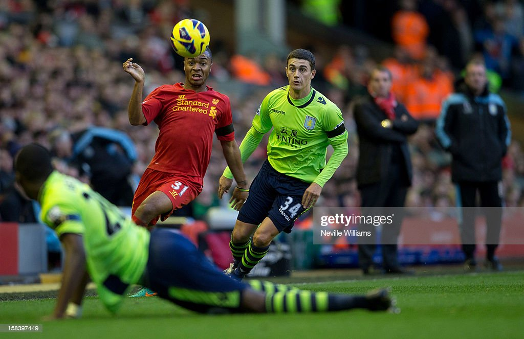 <a gi-track='captionPersonalityLinkClicked' href=/galleries/search?phrase=Matthew+Lowton&family=editorial&specificpeople=8309591 ng-click='$event.stopPropagation()'>Matthew Lowton</a> of Aston Villa challenges Raheem Stirling of Liverpool during the Barclays Premier League match between Liverpool and Aston Villa at Anfield on December 15, 2012 in Liverpool, England.