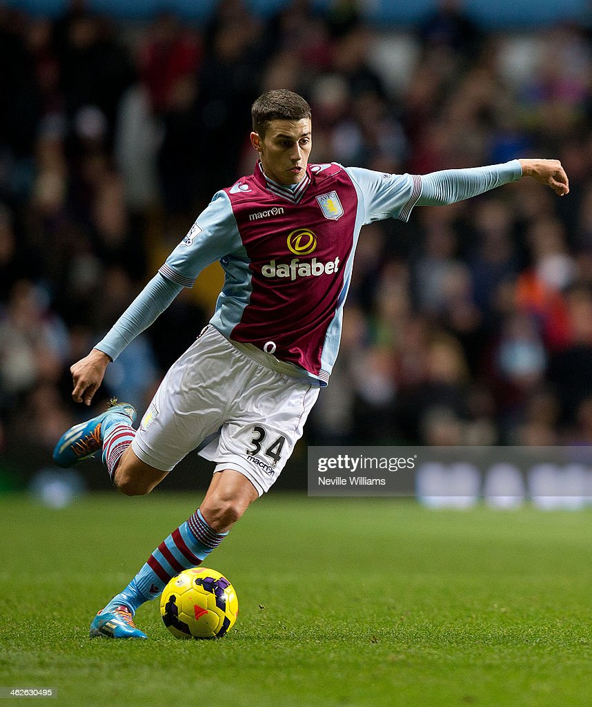 <a gi-track='captionPersonalityLinkClicked' href=/galleries/search?phrase=Matthew+Lowton&family=editorial&specificpeople=8309591 ng-click='$event.stopPropagation()'>Matthew Lowton</a> of Aston Villa during the Barclays Premier League match between Aston Villa and Arsenal at Villa Park on January 13, 2014 in Birmingham, England.