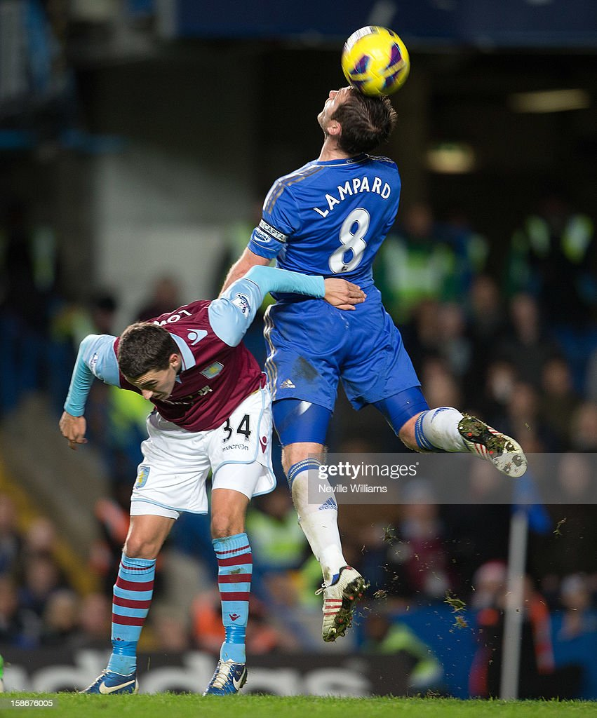 <a gi-track='captionPersonalityLinkClicked' href=/galleries/search?phrase=Matthew+Lowton&family=editorial&specificpeople=8309591 ng-click='$event.stopPropagation()'>Matthew Lowton</a> of Aston Villa is challenged by <a gi-track='captionPersonalityLinkClicked' href=/galleries/search?phrase=Frank+Lampard+-+Born+1978&family=editorial&specificpeople=11497645 ng-click='$event.stopPropagation()'>Frank Lampard</a> of Chelsea during the Barclays Premier League match between Chelsea and Aston Villa at Stamford Bridge on December 23, 2012 in London, England.