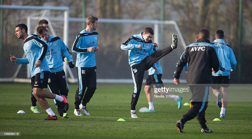 <a gi-track='captionPersonalityLinkClicked' href=/galleries/search?phrase=Matthew+Lowton&family=editorial&specificpeople=8309591 ng-click='$event.stopPropagation()'>Matthew Lowton</a> of Aston Villa trains with team mates during a Aston Villa training session at the club's training ground at Bodymoor Heath on January 11, 2013 in Birmingham, England.