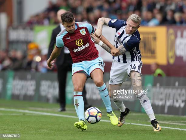 Matthew Lowton of Burnley and James McClean of West Bromwich Albion battle for possession during the Premier League match between Burnley and West...