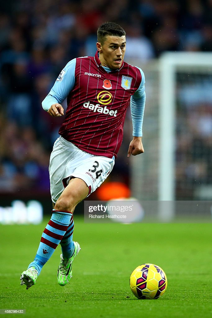 <a gi-track='captionPersonalityLinkClicked' href=/galleries/search?phrase=Matthew+Lowton&family=editorial&specificpeople=8309591 ng-click='$event.stopPropagation()'>Matthew Lowton</a> of Villa in action during the Barclays Premier League match between Aston Villa and Tottenham Hotspur at Villa Park on November 2, 2014 in Birmingham, England.