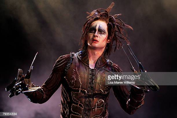 Matthew Malthouse performs a scene from the stage production of 'Edward Scissorhands' at the Sydney Opera House on January 29 2008 in Sydney Australia