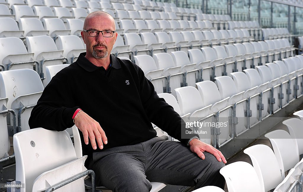 Matthew Maynard Somerset's Director of Cricket poses during the Somerset CCC Photocall at The County Ground on March 17 2015 in Taunton England