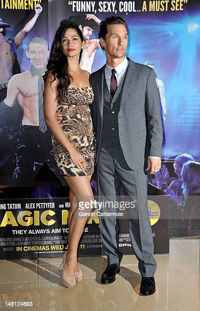 Matthew McConaughey and Camila Alves attend the European premiere of Magic Mike at The Mayfair Hotel on July 10 2012 in London England