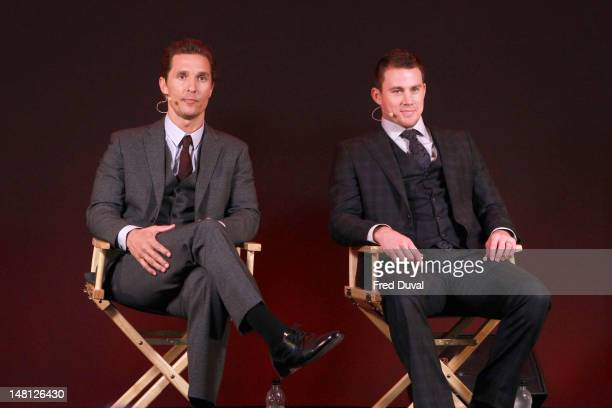 Matthew McConaughey and Channing Tatum promote their new film 'Magic Mike' at Apple Store Regent Street on July 10 2012 in London England