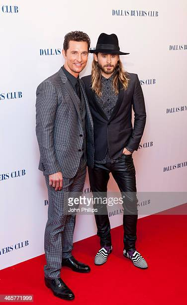 Matthew McConaughey and Jared Leto attend the UK Premiere of 'Dallas Buyers Club' at The Curzon Mayfair on January 29 2014 in London England
