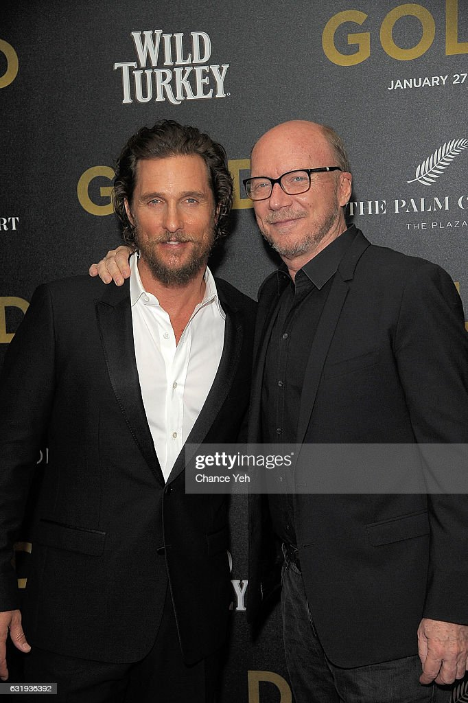 Matthew McConaughey (L) and Paul Haggis attend the world premiere of 'Gold' hosted by TWC-Dimension at AMC Loews Lincoln Square 13 theater on January 17, 2017 in New York City.
