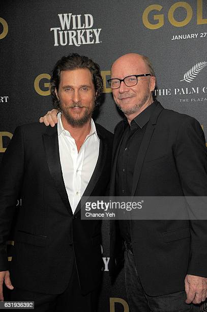 Matthew McConaughey and Paul Haggis attend the world premiere of 'Gold' hosted by TWCDimension at AMC Loews Lincoln Square 13 theater on January 17...