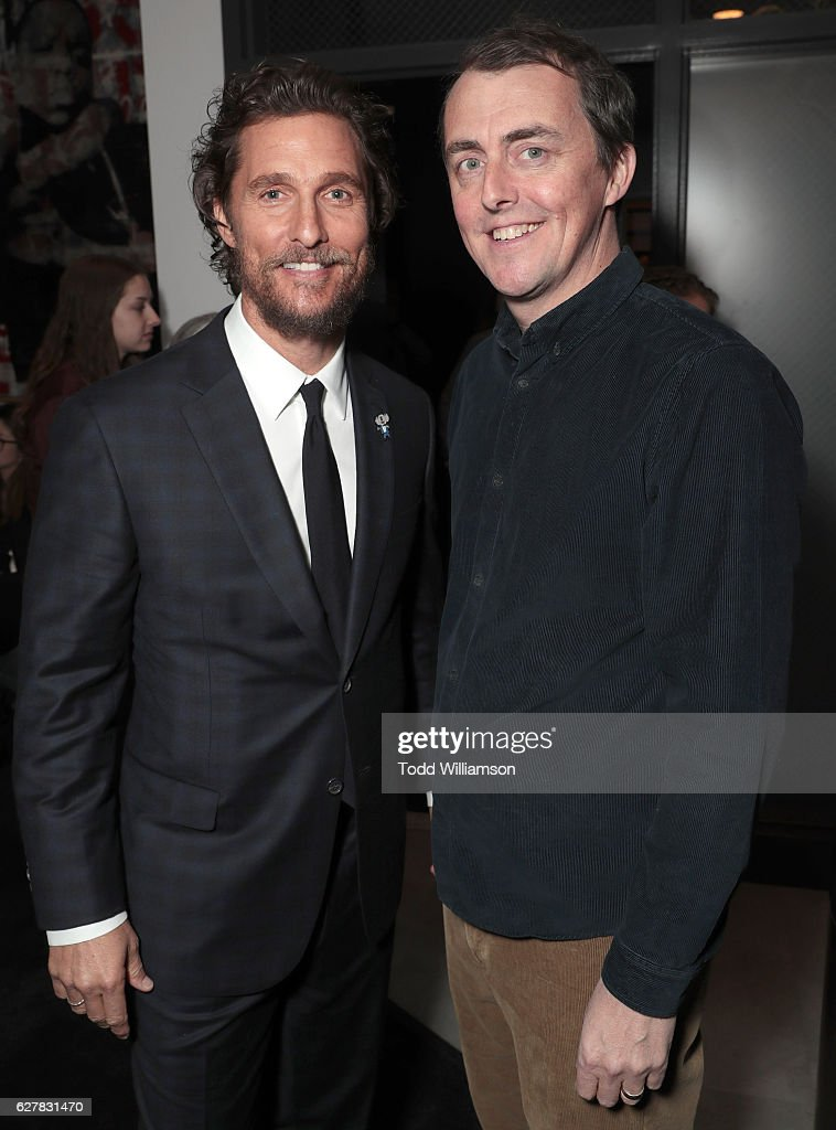 Matthew McConaughey and Writer/Director Garth Jennings attend the premiere Of Universal Pictures' 'Sing' on December 3, 2016 in Los Angeles, California.
