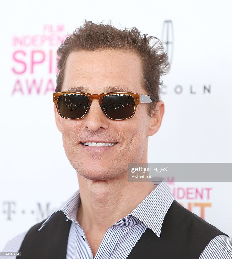 <a gi-track='captionPersonalityLinkClicked' href=/galleries/search?phrase=Matthew+McConaughey&family=editorial&specificpeople=201663 ng-click='$event.stopPropagation()'>Matthew McConaughey</a> arrives at the 2013 Film Independent Spirit Awards held on February 23, 2013 in Santa Monica, California.