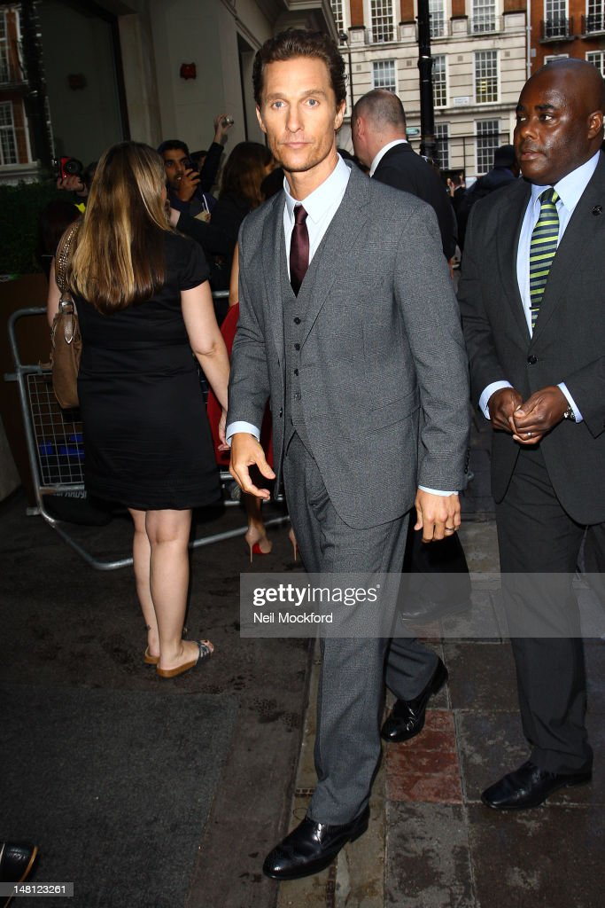 Matthew McConaughey arrives for the European Premiere of Magic Mike at The Mayfair Hotel on July 10, 2012 in London, England.