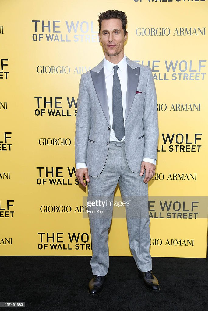 <a gi-track='captionPersonalityLinkClicked' href=/galleries/search?phrase=Matthew+McConaughey&family=editorial&specificpeople=201663 ng-click='$event.stopPropagation()'>Matthew McConaughey</a> attends the 'The Wolf Of Wall Street' premiere at Ziegfeld Theater on December 17, 2013 in New York City.