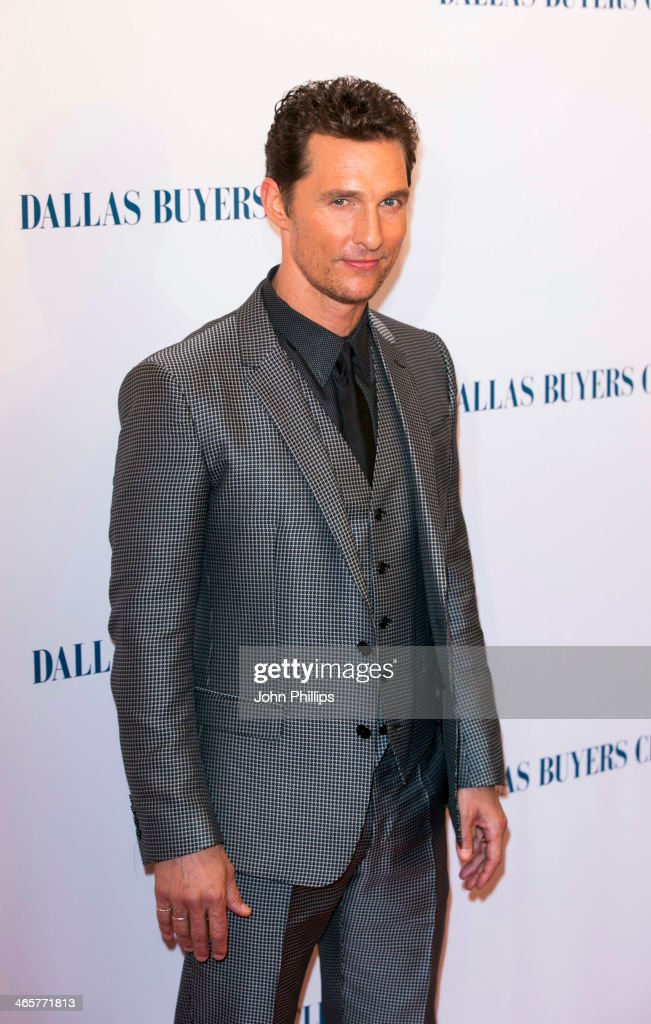 <a gi-track='captionPersonalityLinkClicked' href=/galleries/search?phrase=Matthew+McConaughey&family=editorial&specificpeople=201663 ng-click='$event.stopPropagation()'>Matthew McConaughey</a> attends the UK Premiere of 'Dallas Buyers Club' at The Curzon Mayfair on January 29, 2014 in London, England.