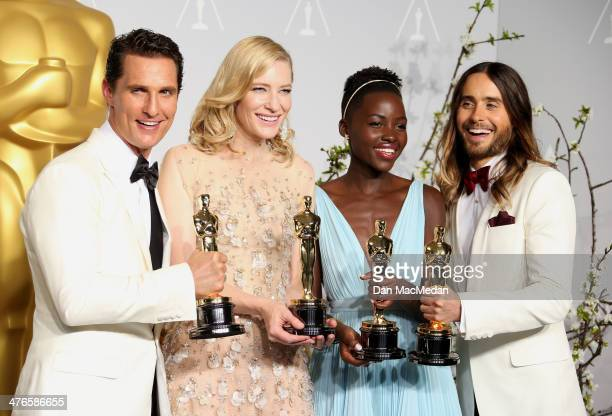 Matthew McConaughey Cate Blanchett Lupita Nyong'o and Jared Leto pose in the press room at the 86th Annual Academy Awards at Hollywood Highland...