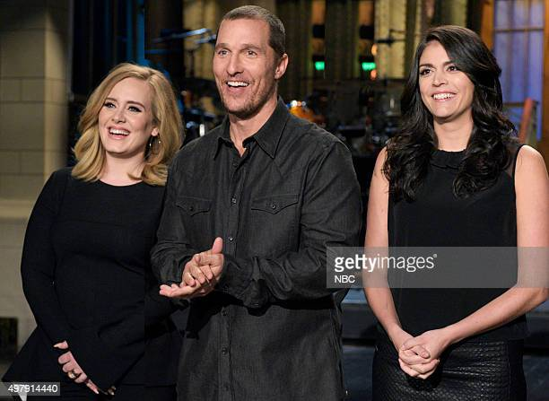 LIVE 'Matthew McConaughey' Episode 1689 Pictured Adele Matthew McConaughey and Cecily Strong on November 19 2015