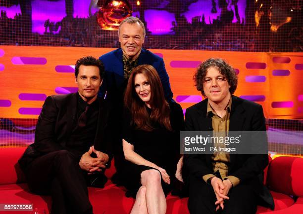 Matthew McConaughey Graham Norton Julianne Moore and Alan Davies during the filming of the Graham Norton Show at The London Studios south London to...