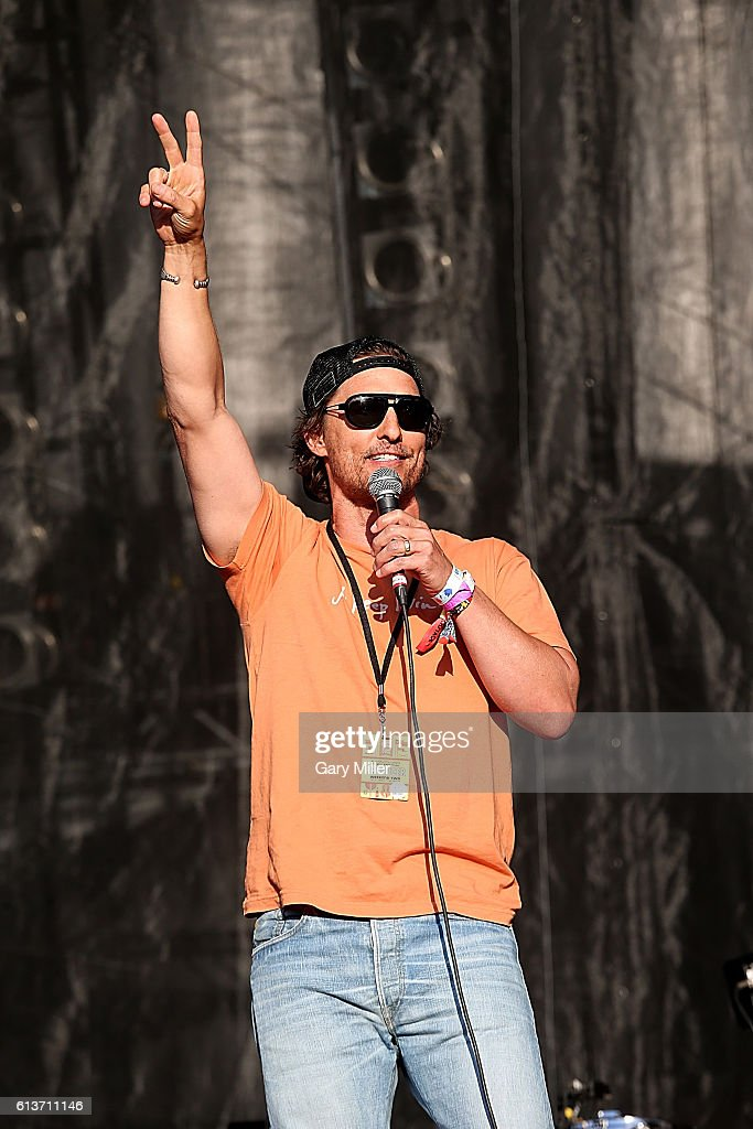Matthew McConaughey introduces Willie Nelson during the Austin City Limits Music Festival at Zilker Park on October 9 2016 in Austin Texas