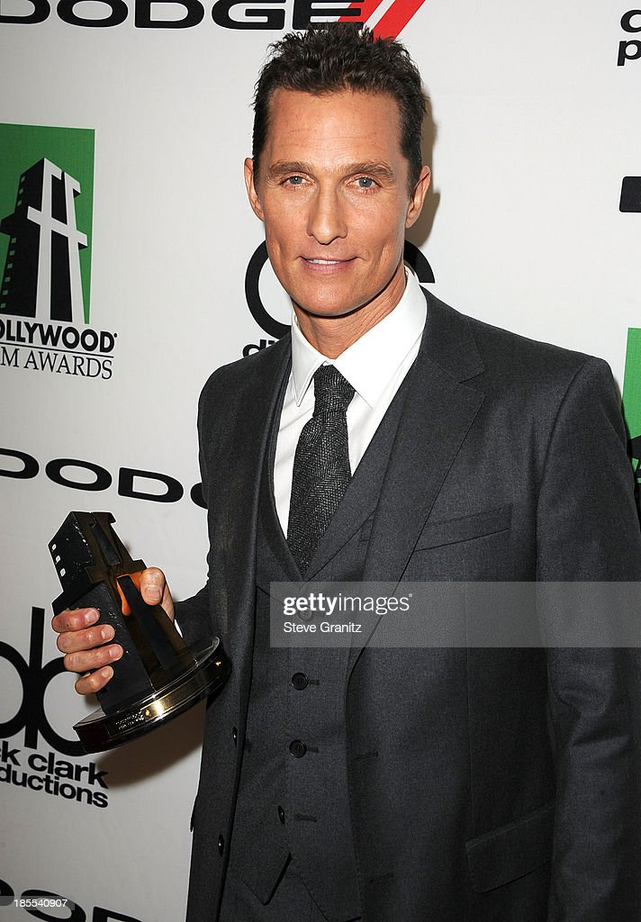 <a gi-track='captionPersonalityLinkClicked' href=/galleries/search?phrase=Matthew+McConaughey&family=editorial&specificpeople=201663 ng-click='$event.stopPropagation()'>Matthew McConaughey</a> poses at the 17th Annual Hollywood Film Awards at The Beverly Hilton Hotel on October 21, 2013 in Beverly Hills, California.