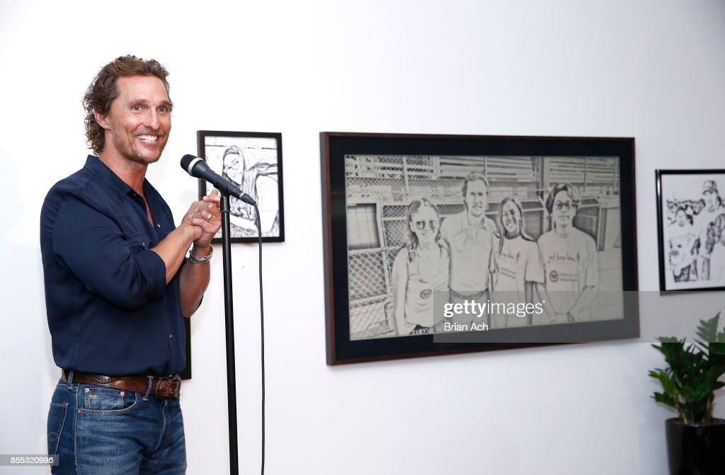 Matthew McConaughey spoke about the importance of empowering youth to make positive and healthy choices in their lives through his work at his just keep livin Foundation at the The Frame Gallery by Samsung on September 28, 2017 in New York City.