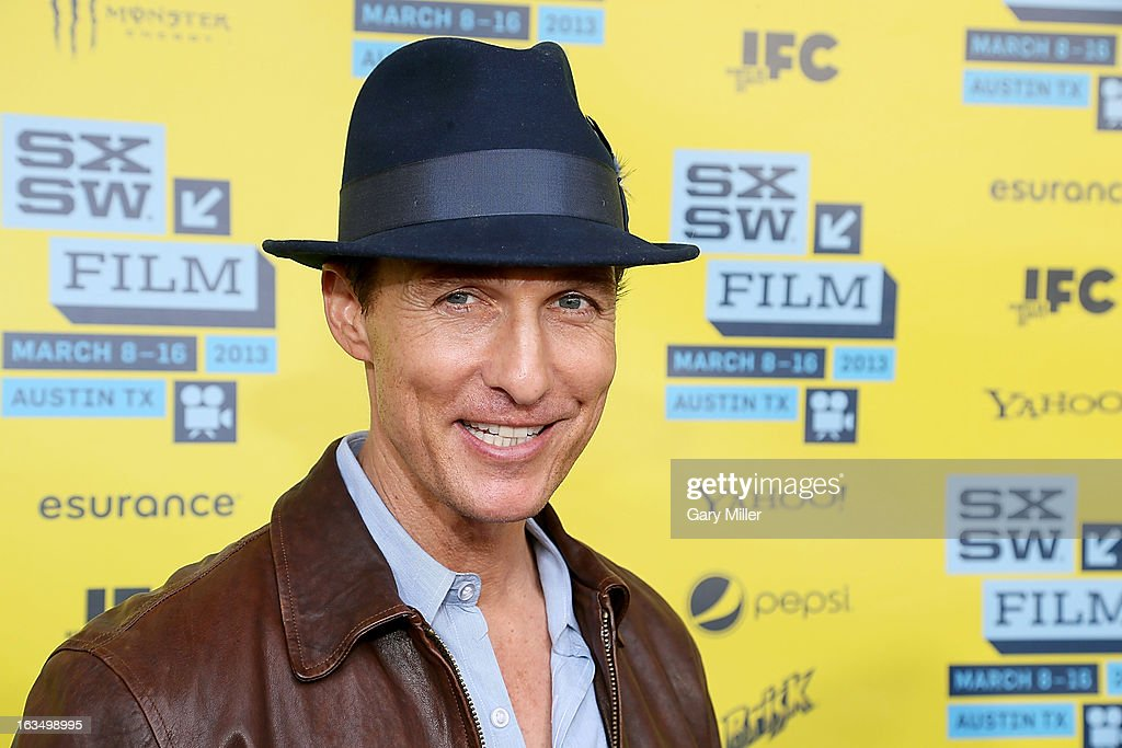 <a gi-track='captionPersonalityLinkClicked' href=/galleries/search?phrase=Matthew+McConaughey&family=editorial&specificpeople=201663 ng-click='$event.stopPropagation()'>Matthew McConaughey</a> walks the red carpet at the Paramount Theater for the new film 'Mud' during South By Southwest Film Festival on March 10, 2013 in Austin, Texas.