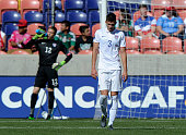 Matthew Miazga and goalie Ethan Horvath both of the United States react to the 2nd goal by Honduras during the semifinal round of the 2015 CONCACAF...