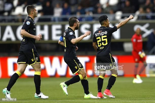 Matthew Miazga of Vitesse Arnhem Guram Kashia of Vitesse Arnhem Navarone Foor of Vitesse Arnhem scoredduring the Dutch Eredivisie match between...