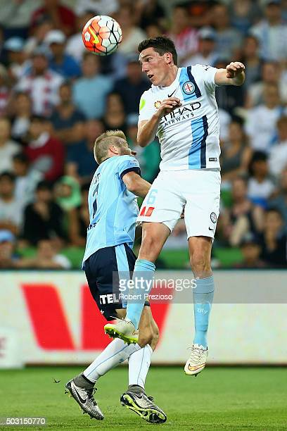 Matthew Millar of Melbourne City heads the ball during the round 13 ALeague match between Melbourne City FC and Sydney FC at AAMI Park on January 2...