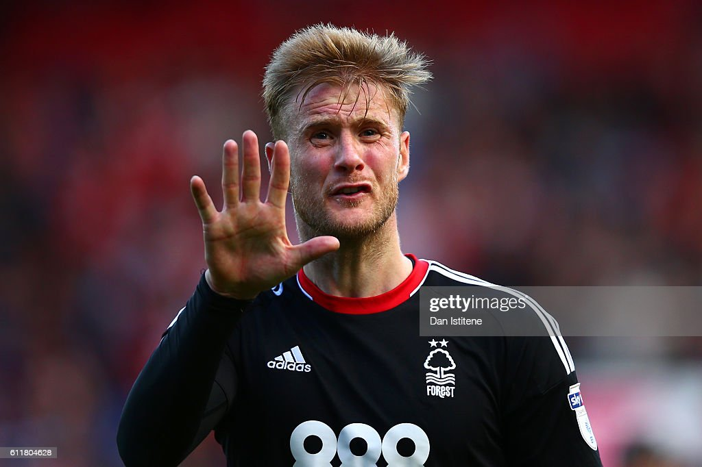 Matthew Mills of Nottingham Forest reacts after the Sky Bet Championship match between Bristol City and Nottingham Forest at Ashton Gate on October 1, 2016 in Bristol, England.