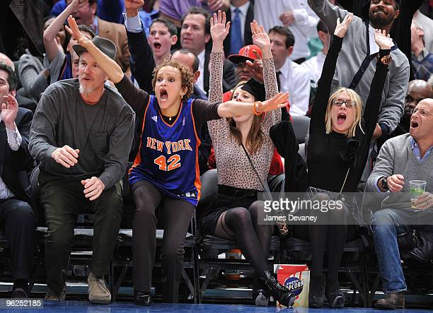 Matthew Modine Cari Modine and Chloe Sevigny attend the Toronto Raptors vs New York Knicks game at Madison Square Garden on January 28 2010 in New...