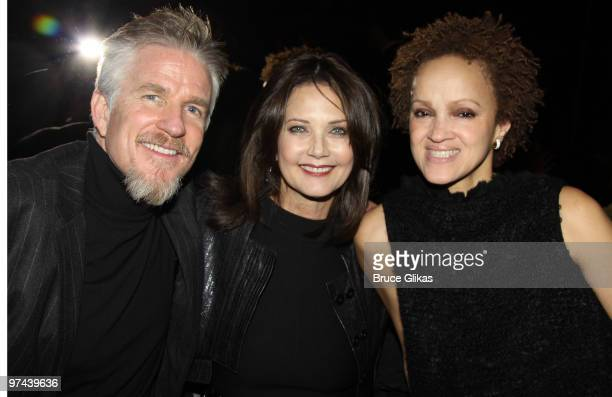 Matthew Modine Lynda Carter and Carrie Modine pose at the after party for the Broadway opening of 'The Miracle Worker' at Crimson on March 3 2010 in...