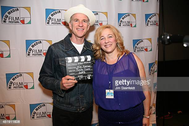 Matthew Modine winner of the best App poses with Susan Johnston founder of the New Media Film Festival at the Landmark Theatre in Los Angeles...