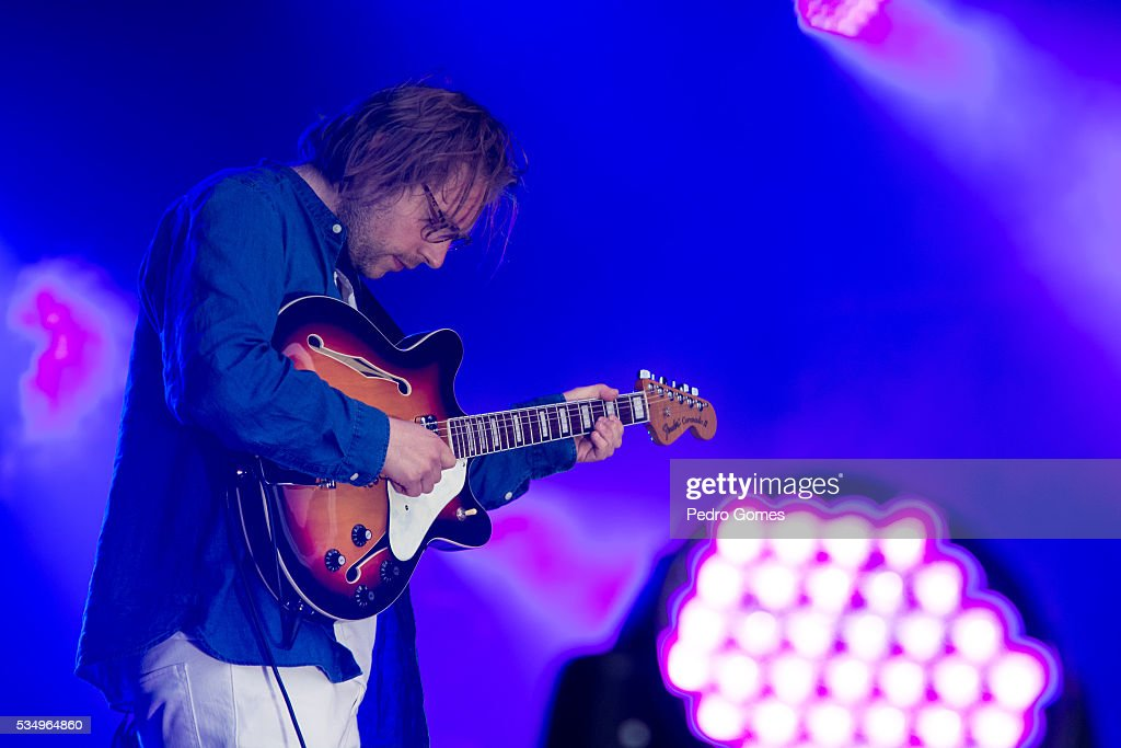 Matthew Mondanile of Real Estate performs on Vodafone stage at Rock in Rio on May 28, 2016 in Lisbon, Portugal.