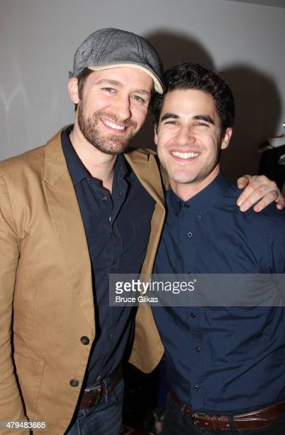 Matthew Morrison and Darren Criss pose backstage at The StarKid Production of 'Twisted' at 54 Below on March 18 2014 in New York City