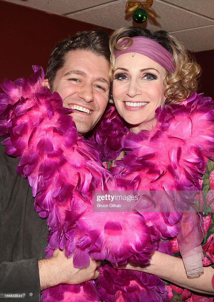 Matthew Morrison and Jane Lynch as 'Miss Hannigan' pose backstage at 'Annie' on Broadway at The Palace Theater on May 15 2013 in New York City