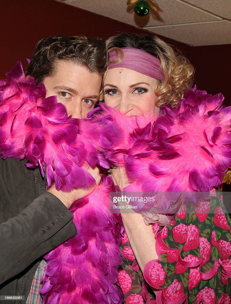 <a gi-track='captionPersonalityLinkClicked' href=/galleries/search?phrase=Matthew+Morrison&family=editorial&specificpeople=171674 ng-click='$event.stopPropagation()'>Matthew Morrison</a> and <a gi-track='captionPersonalityLinkClicked' href=/galleries/search?phrase=Jane+Lynch&family=editorial&specificpeople=663918 ng-click='$event.stopPropagation()'>Jane Lynch</a> as 'Miss Hannigan' (both co-star on the television show 'Glee') pose backstage at 'Annie' on Broadway at The Palace Theater on May 15, 2013 in New York City.