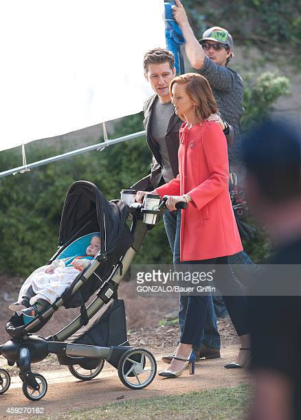 Matthew Morrison and Jayma Mays are seen filming 'Glee' on November 19 2014 in Los Angeles California