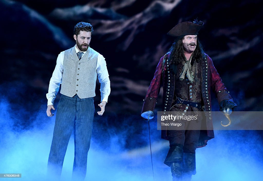 Matthew Morrison and Kelsey Grammer perform with the cast of 'Finding Neverland' onstage at the 2015 Tony Awards at Radio City Music Hall on June 7...